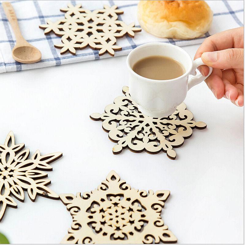 navidad mantel de madera tallada copo de nieve de navidad taza coasters titular t caf