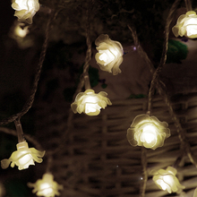 Hot sale 1.5M 10 LED Battery Operated Rose lamps String Light Fairy Lights Wedding room decoraion Home Christmas Xmas Party