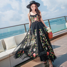 Luxury Designer Runway Dress Women Spaghetti Strap Sexy Floral Embroidery Mesh Maxi Dresses Ladies Bohemian People Dress H031(China)