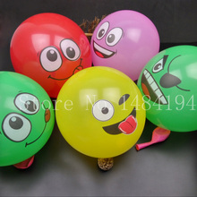 50pcs /lot 12 inch big eyes smiling face balloon thick balloon big eyes smile printing BALLOON Birthday wedding decoration