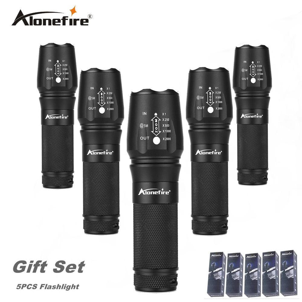 AloneFire E26 High Power XML T6 26650 zoom flashlight Tactical 18650 Led Flashlight export worldwide countries gift set 5pcs<br>