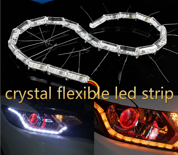 New Crystal Flexible Car LED DRL Daytime Running Driving Light with Turn Signal Light Universal Car Styling<br><br>Aliexpress