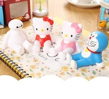 Universal Silicone Cute Hello Kitty Cartoon Phone Holder For iPhone Samsung Tablet PC Flexible Baymax Doraemon Desk Holder Stand