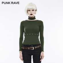 PUNK RAVE 2018 Punk Daily Collar Waist Split Sweater Womens Long Sleeve Lightweight Gothic Rock Pure Color Two Wear Clothing(China)