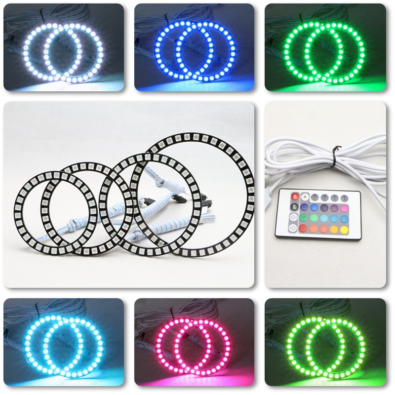 Latest new 5050 SMD Angel Eyes Multi-Color RGB LED DRL Remote Kit - 2PCS (60/70/80/85/90/94/100/106/110/115/120/126/140 MM)<br><br>Aliexpress