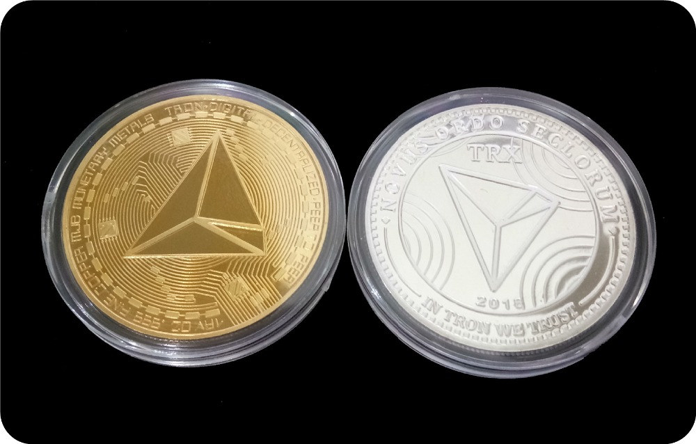 Gold Zinc Alloy TRX Plated Bitcoin Commemorative Round Collectors Bit Coins Gift