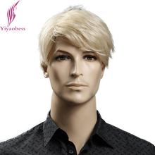 Yiyaobess 6inch Heat Resistant Synthetic Short Blonde Wig Natural Hair Men Straight hairStyles(China)