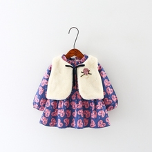 Autumn Baby Girls Loving Heart Print Tutu Dress + Faux Fur Waistcoat  Kids 2Pcs Suit Clothing Set conjunto roupas de bebe