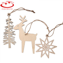 3pcs/lot Christmas Tree Ornaments Deer Tree Snow Shape Decoration Wood  Rustic Tags Christmas Decor Gift Hanging Tags