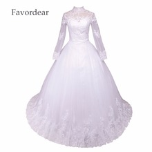 Favordear New Arrival Lace Ball Gown Bridal Dress Elegant High Collar Lace Long Sleeve Princess Wedding Dresses QD598
