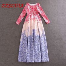 S-XL Retro print designer O neck long sleeve slim maxi long ball gown jacquard dress vestido 2017 new nice women's dress 072507