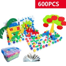 Free Shipping 600pcs Grain Mushroom Nail Beads Intelligent 3D Puzzle Games for Children Plastic Baby Kids Educational Toys
