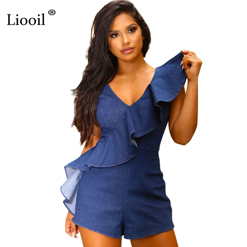 Liooil Sexy Club Blue Ruffle Denim Rompers Womens Jumpsuit Shorts Fashion Sleeveless Zipper Party Plus Size Playsuits Overalls