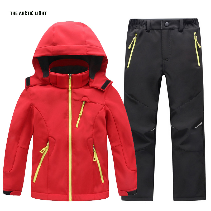 Kids Girls Clothes Boys Hiking Jacket And Pant Sets Waterproof Camping Softshell Jacket Winter Warm Suits Outdoor Coat<br>