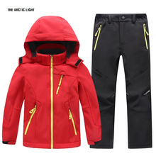 Kids Girls Clothes Boys Hiking Jacket And Pant Sets Waterproof Camping Softshell Jacket Winter Warm Suits Outdoor Coat(China)