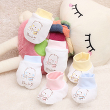 100% cotton 0-6 months Newborn baby mittens cartoon face anti grasping breathable and warm infant gloves 3 colors Hot Selling