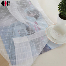 Plaid striped pattern tulle sheer curtain for bedroom living room window Drapes lavender curtains fiber optic fabric wp036C(China)