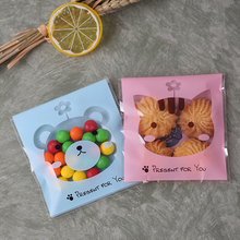 100pcs10x10+3cm Cute Cat Bear Bakery Cookie Candy Sweet Biscuit Gift Soap Cello OPP Plastic Bag Kids Birthday Party Decorations