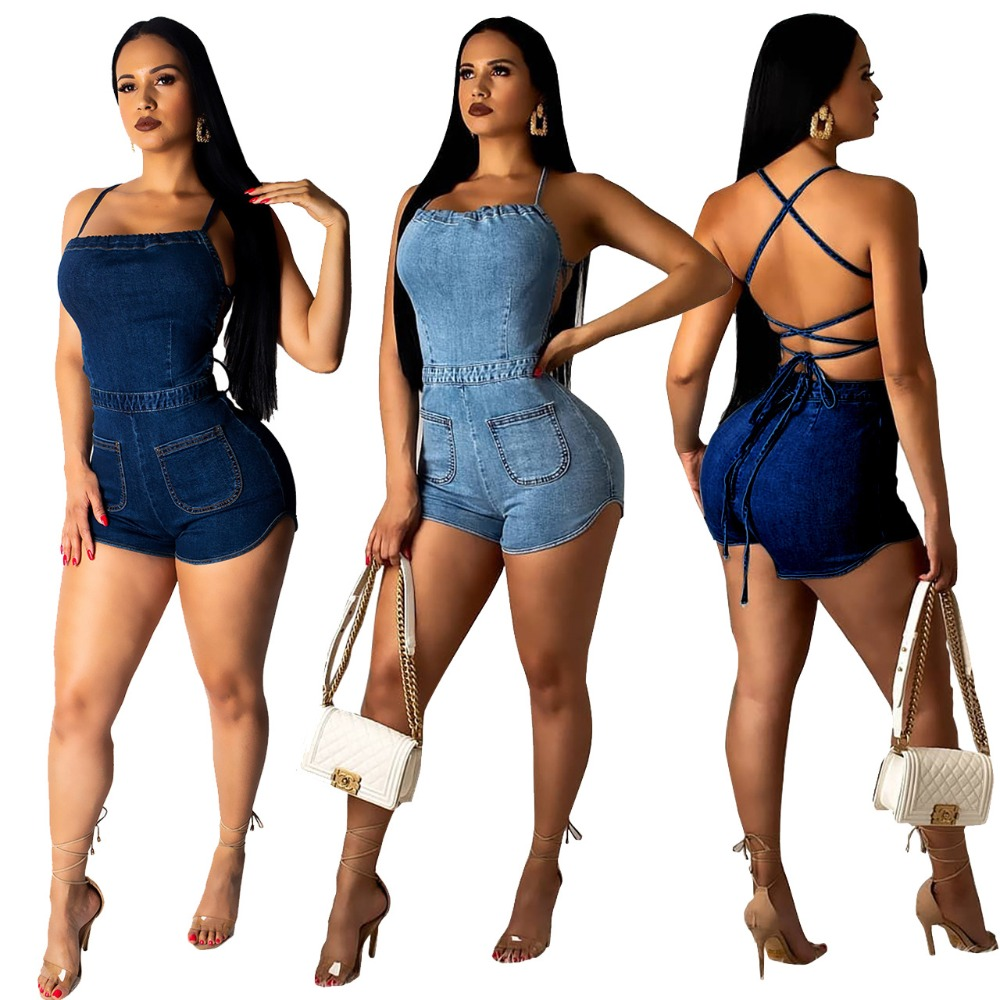 Fashion Sexy  Denim Playsuit For Women 2019 Back Cross Lace Up Short Romper Summer High Street Sleeveless Tank Overall Q212