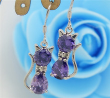 H:HYDE  Silver Color 100% Shiny purple Crystal cat Elegant  stud earrings Jewelry For Women Christmas gift