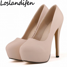 Buy LOSLANDIFEN Women Pumps Ultra High Heels Woman Platform Round Toe Matt Leather Stilettos Dress Party Fetish Shoes Plus Size