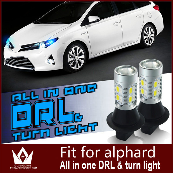 Guang Dian car daytime running light with turn signal light car drl with turn signal light  For alphard 2010 7440 wy21w T20<br><br>Aliexpress