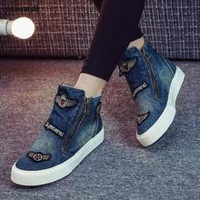 yauamdb women shoes woman boots ankle boot summer ladies martin denim boots female brand Zipper Cowboy Canvas Shoes Jeans 69