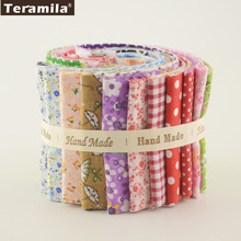 2017 Colorful Design 7 PCS / Lot 9CMx50CM Teramila Jelly Rolls Strips Fabric Cotton TIssue DIY Crafts Textile Patchwork Quilting