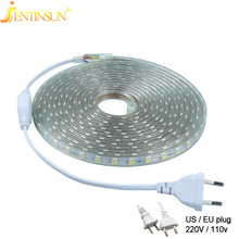 SMD5050 AC 220V 110V Waterproof Flexible LED Strip Light 60leds/m Strip Lights Lamp EU/US Plug 20M/17M/15M/10M/8M/5M/4M/3M/2M/1M