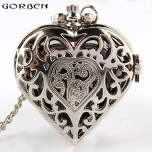 Free shipping Silver Quartz Heart-shaped Pocket Watch Necklace Pendant Mens Womens P72