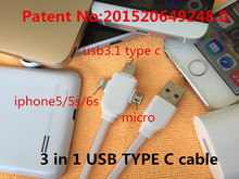 3 in 1USB 3.0 TYPE-C usb cable Appliable to cable micro usb otg adapter micro usb hub data cable 1m 2m charger clash of clans