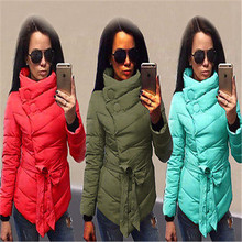 Winter woman Parkas Fashion Women Ladies Down Jacket Thick Long Sleeve Coat Hooded Collar Adjustable Waist Warm Outerwear