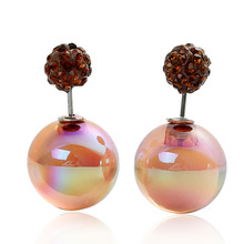 Doreen Box Acrylic Double Sided Ear Post Stud Earrings Ball Light Coffee AB Color 8mm Dia. 16mm Dia.,1 Pair