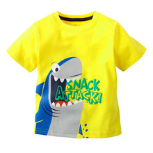 sale Retail new Brand 2016 new Blouse boys t shirt kids clothing 100%cotton childrens clothes Summer short tee Cartoon dinosaur(China)