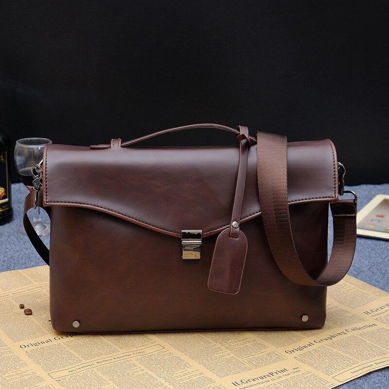 2017 Briefcase crazy horse Men Leather Bags Male Shoulder brief case Business Bags portfolio Men Briefcases Laptop bag<br><br>Aliexpress
