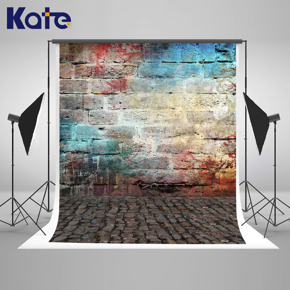 Kate Colorful Brick Wall  Backdrops For Photography Studio  Children Photo Backgrounds Muslin Backdrop Custom Photo Backdrops<br>