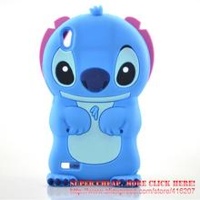 For Huawei Ascend P6 Case 3D cute Cartoon Soft Rubber silicon Stitch Case Folding of the Ear(China)