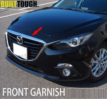 FOR 2014 2015 2016 MAZDA 3 FRONT HOOD CHROME COVER BONNET BAR TRIM MOLDING GRILLE GARNISH GRILL STRIP SPOILER SEDAN HATCHBACK