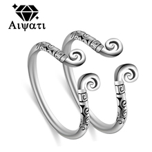 Fashion Jewelry Inhibiting Magic Phrase Thailand Silver Rings 2017 Wedding Engagement Couple Rings