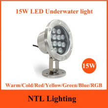 New 15W LED Underwater light IP68 waterproof lamp lights AC/DC 12V 24V for Fountain Swimming Pool Pond Fish Tank Aquarium Park