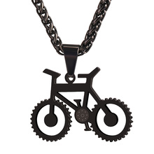 Gold Color Bicycle Pendant Necklace For Men/Women Stainless Steel Bike Pendant Rock Sport Jewelry P221