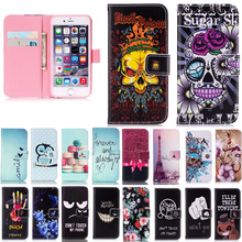 Cases For iPhone 5 5S 6 6S 7 Plus Wallet Mobile Phone Cover Flip Leather For Samsung Galaxy S3 S4 S5 S6 edge Flower Pating Case