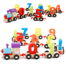 Dental House Baby Montessori Materials Wooden Train Figure Model Toy with Number Pattern 0-9 Blocks Educational Kids Wooden Toy(China)