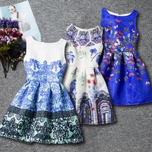 2017 Summer Brand Floral Printed Children Girls Dress Retro Princess Teenage Party Girls Chinese Dress Roupas Infantis Menina