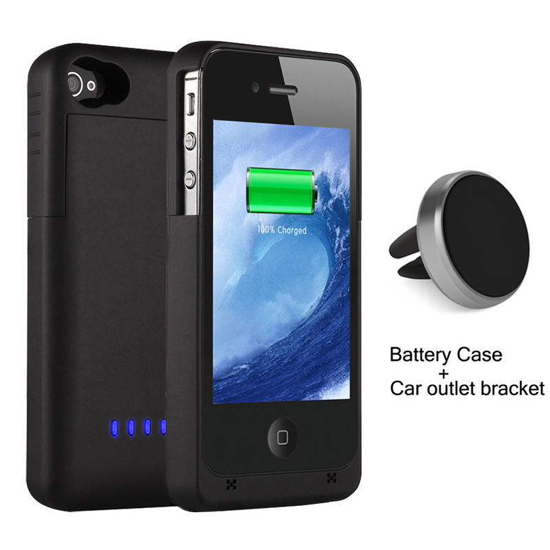1900mAh External power bank Charger pack backup battery case for iphone 4 4s Cases with Magnetic Car outlet bracket holder(China (Mainland))