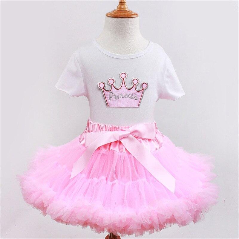 Pink Princess Girls Pettiskirts Set Cotton Crown Top Tutu Skirt Dance Dress Children Clothing 2pcs Sets Soft Lace Kids Clothes<br><br>Aliexpress