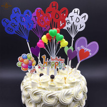 Balloon Series Birthday Theme Cupcake Pick Kids Happy Birthday Cupcake Toppers For Party Wedding Decoration Cake Topper Supplies(China)