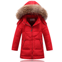 Children's winter jackets teenage boy winter jackets and coat really raccoon fur collar boy winter down coat hooded kids outwear(China)