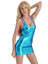 Women Black and Blue PVC Wet Look Erotic Costume Sexy Faux Leather Party Night Dress Shiny Liquid Metallic Club Suits