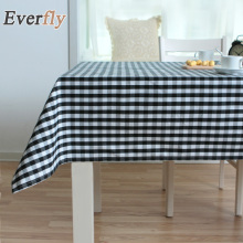Europe Style Black Plaid Plain Weave Tablecloth 100% Polyester Lace table cloth Wedding Party Decoration Tables Cover(China)